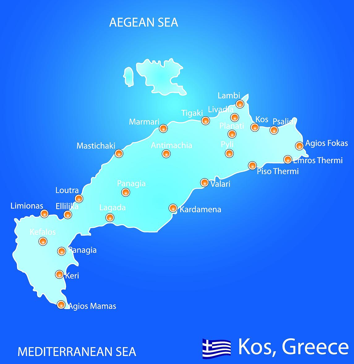 Map of Kos - Exquisite Kos Weddings